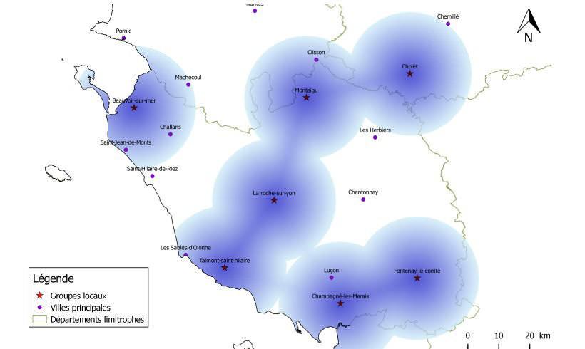 Carte des groupes locaux de la LPO en Vendée