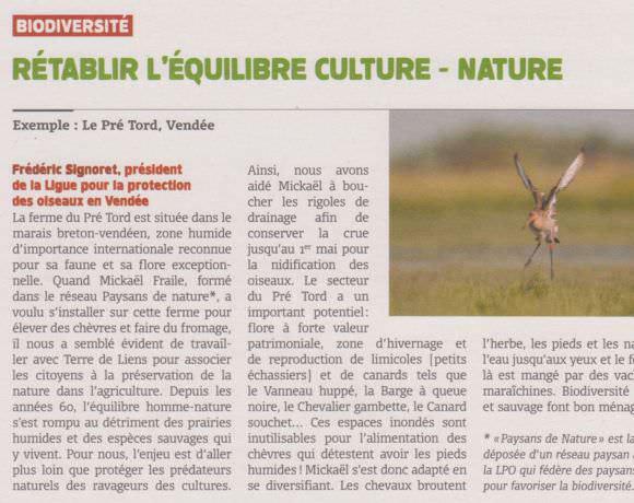 Rétablir l'équilibre culture & nature : un article sur le réseau Paysans de nature®