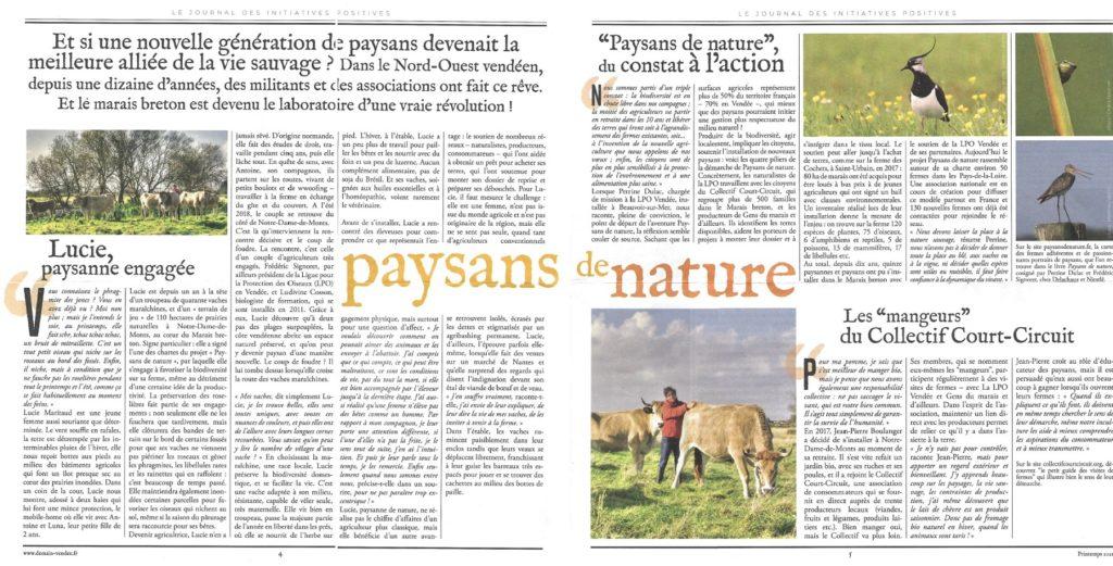 Article du journal demain Vendée n°9 - Printemps 2021 sur Paysans de nature