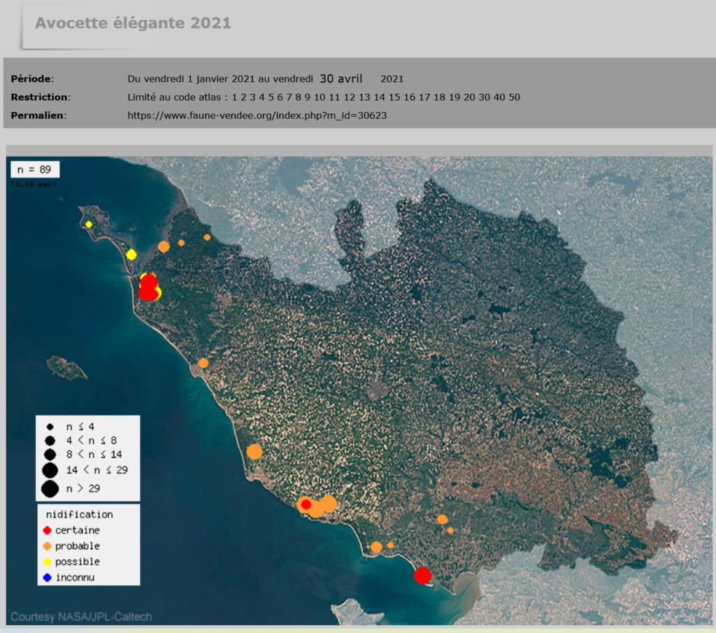 Carte Nidification de l'Avocette élégante en 2021 en Vendée © LPO Vendée