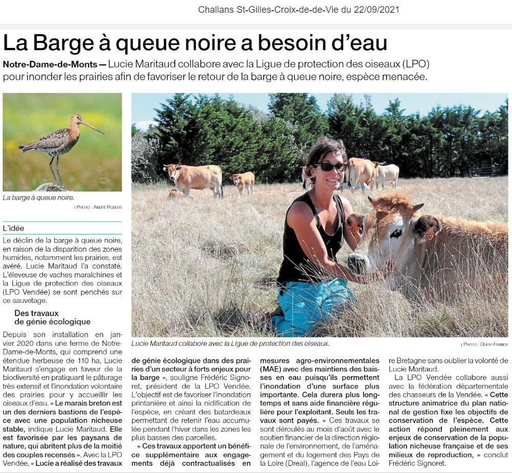 Extrait de l'article Ouest France du 22 septembre 2021