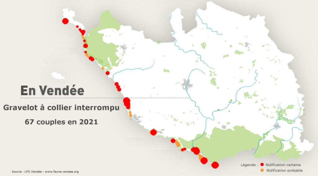 Localisation des nids de GCI - Saison 2021 - Source © LPO Vendée - www.faune-vendee.org